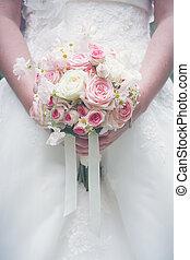 menyasszony, birtok, gyönyörű, esküvő, bouquet.