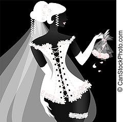 menyasszony, black-white