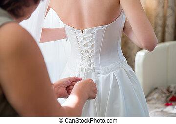 menyasszony, fárasztó, esküvő öltözködik