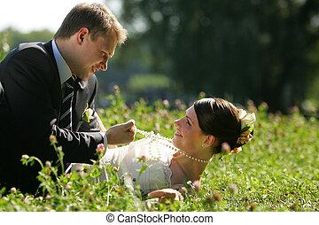 menyasszony, fehér, lovász, esküvő