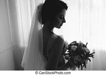 menyasszony, feltevő, alatt, egy, nagy, ablak