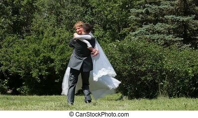menyasszony, fonás, lovász, a parkban