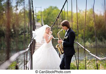 menyasszony, gyalogló, lovász, liget