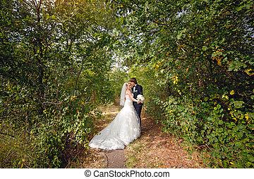 menyasszony, gyalogló, lovász, liget, esküvő
