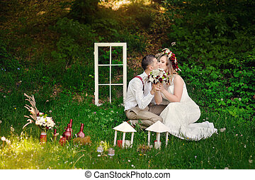 menyasszony inas, ülés, alatt, egy, liget