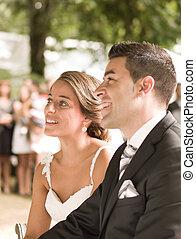 menyasszony inas, alatt, egy, esküvő