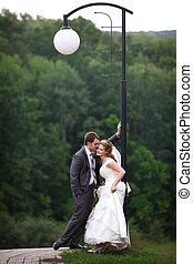 menyasszony inas, alatt, világító