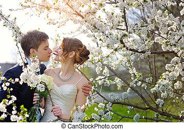 menyasszony inas, -ban, a, esküvő, csókol, alatt, eredet, jár, liget