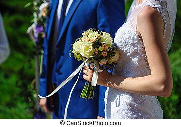 menyasszony inas, -ban, a, esküvő, jár dísztér