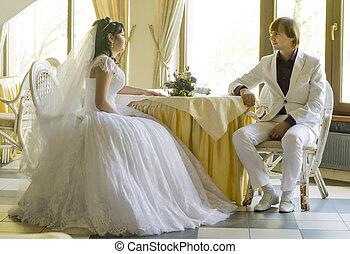 menyasszony inas, -ban, esküvő, asztal