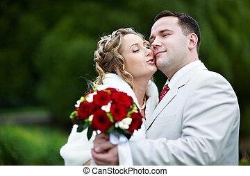 menyasszony inas, -ban, esküvő, jár