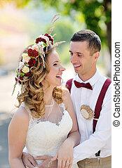 menyasszony inas, -ban, esküvő nap, gyalogló