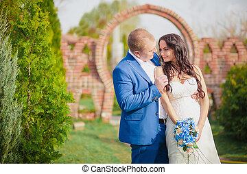 menyasszony inas, csókolózás, -ban, napnyugta, képben látható, fű, romantikus, házaspár