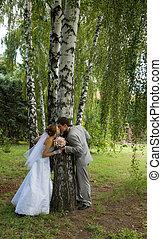 menyasszony inas, gyalogló, alatt, egy, liget