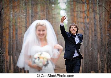 menyasszony inas, gyalogló, alatt, egy, sóvárog erdő