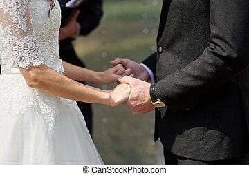 menyasszony inas, hatalom kezezés, alatt, egy, nyár, liget