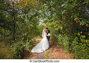 menyasszony inas, jár dísztér, -ban, a, esküvő