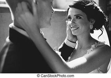 menyasszony inas, képben látható, a, háttér, közül, egy, ablak.