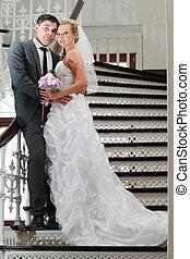 menyasszony inas, képben látható, a, lépcsőfok