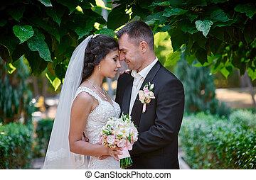 menyasszony inas, noha, egy, csokor, közül, gyalogló, alatt, a, nyár, liget