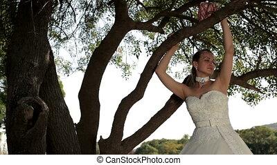 menyasszony, képben látható, a, természet