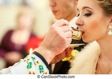menyasszony, kap, jámbor, lelki közösség, alapján, lelkész, kézbesít, közben, egy, esküvő ünnepély