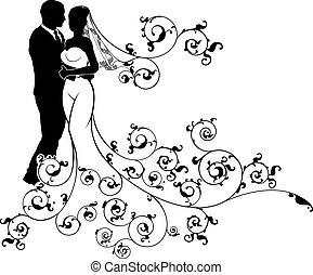 menyasszony, lovász, árnykép, ábra, esküvő