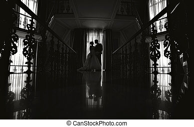 menyasszony, lovász, árnykép, esküvő
