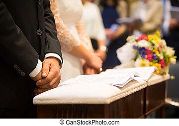 menyasszony, lovász, és, csokor, alatt, egy, esküvő nap