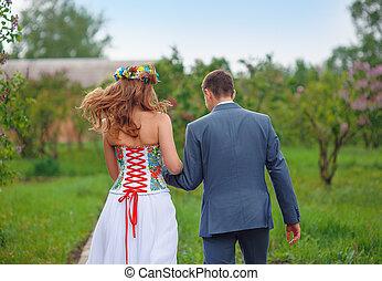 menyasszony, lovász, liget