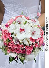 menyasszony, noha, esküvő bouquet