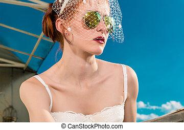 menyasszony, noha, függöny, és, női fehérnemű, helyett, neki, esküvő