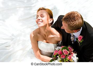 menyasszony, párosít, lovász, -, esküvő