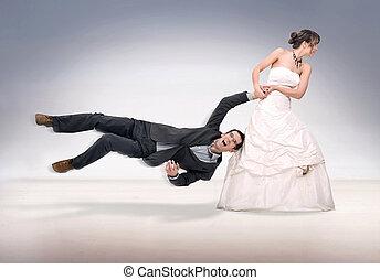 menyasszony, rongálva, lovász