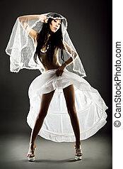 menyasszony, seminude, esküvő öltözködik, mód, magas