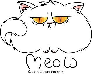 Angry furry cartoon cat. Cute grumpy cat for prints, design, cards, tag.