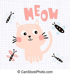 meow cat - vector illustration of a cute cat, meow hand...