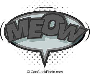 Meow, comic speech bubble icon monochrome