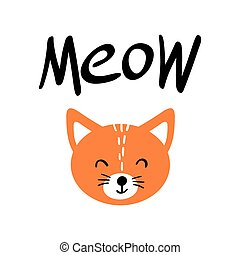 meow, lettrage, chat, mignon, orange, figure
