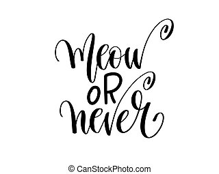 meow or never - hand lettering inscription text about...