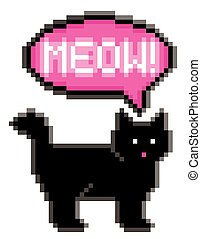 Meowing 8-Bit Cat - Vector illustration of a black cat...