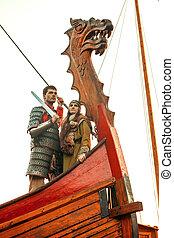 merész, észak, harcos, noha, övé, szeretett, vannak, álló, képben látható, a, íj, közül, egy, hajó, és, külső at, a, sea.