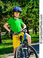 merész, fiú, biciklista