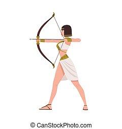 merész, női, harcos, alapján, egyiptomi, mitológia, vagy, antik egypt, történelem, elszigetelt, white, háttér., gyönyörű woman, íjász, birtok, íj, és, nyílvesszö, és, shooting., lakás, karikatúra, vektor, illustration.