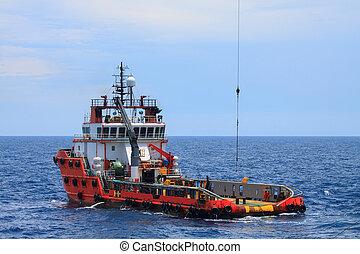 mer, équipage, vaisseau, fourniture