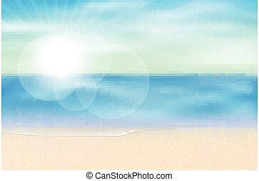 mer, été, vue, saison, vecteur, fond