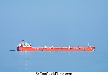 mer, a, grand, cargo, sur, les, horizon