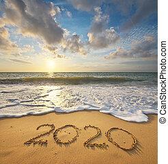 mer, année, shore., 2020