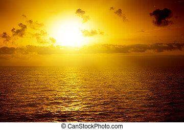 mer, au-dessus, coucher soleil, beau
