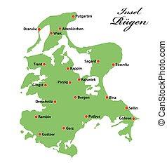 mer baltique, allemagne, vecteur, ruegen, île, carte